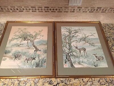 Pair of Vintage Framed Chinese Watercolor Painting Scroll on Cardboard by 汪亞塵
