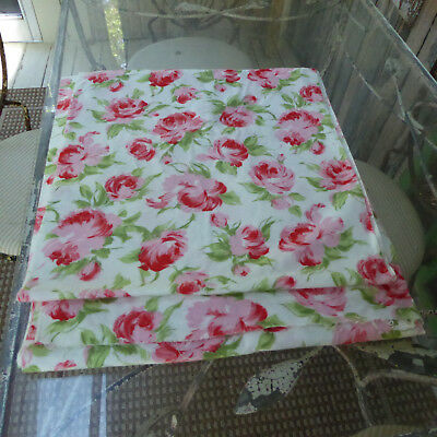 "Vintage Fabric 4 1/2+yards X 35""W Rose Print Cotton Flannel Clothing Crafts"