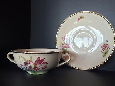 PORTLAND POTTERY STAFFORDSHIRE ENGLAND SOUP CUP And SAUCER