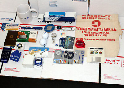 Chase Manhattan Bank Mug Paperweights Bag Cards Pen Truck Charge Collectibles