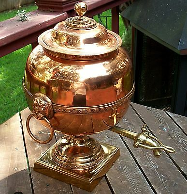 Antique English Copper/ Brass Samovar Water / Coffee Tea Urn Vintage Teapot