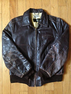 RARE VINTAGE 1950's JULESONS FRONT QUARTER HORSEHIDE MOTORCYCLE JACKET SIZE 40!!