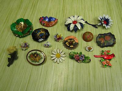 Costume Jewelry Brooch Pin Lot As Is Floral Inlay Birds Nature Flowers