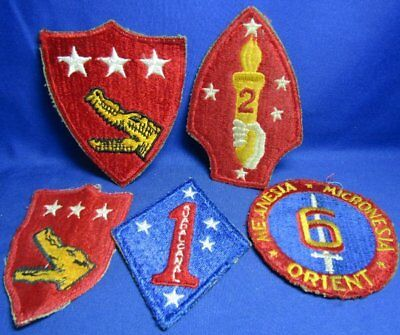 WWII 1st, 2nd & 6th USMC Marines Patches Lot Of 5 - NO GLOW