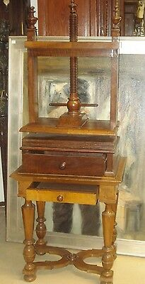 Rare Beautiful Patina Walnut Linen Press Table W/ Two Drawers