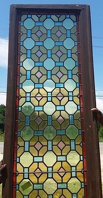 """PAIR STAINED GLASS DOORS 116''X29.5''  Could be used as Windows 86"""" x 22"""""""