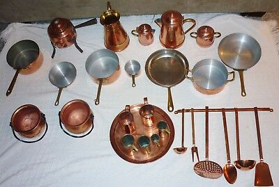 Huge Copper lot mixed with Pots & Sauce Pan Vintage Tagus Portugal & many others