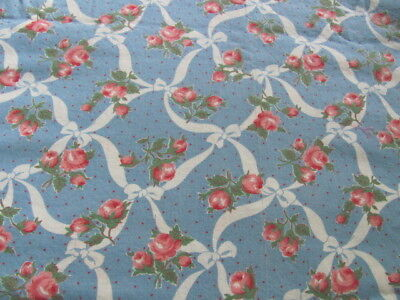 "Vintage 35"" quilting weight cotton blue with ribbons bows roses polkadots 3 yds"