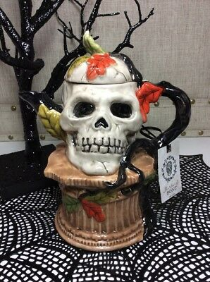 New Blue Sky Clayworks Mortar & Bone Halloween Skull Teapot Heather Goldminc