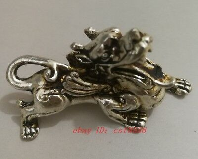 Exquisite Tibetan silver dragon Chinese hand old carving statue decoration