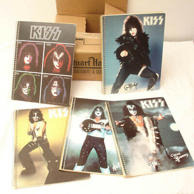 5 Vintage 1978 KISS SET OF 5 Notebooks & RARE Box,Headstock Unused,NOS Aucoin
