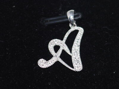 10k White Gold letter A with diamonds