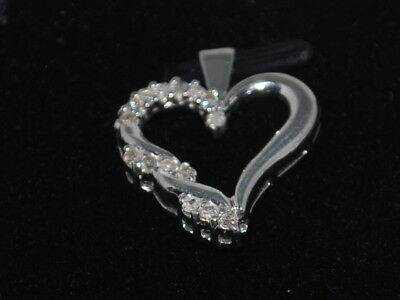 10k White Gold Heart with diamonds