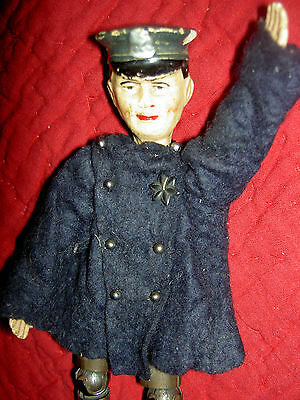 Antique Bucherer, SABA multi j'td POLICE OFFICER doll figure molded cap, uniform