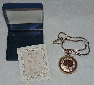 Vintage Pepsi Cola Pocket Watch Original Box & Chain Employee Award 1980's Logo