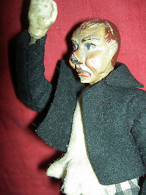 Antique Bucherer SABA multi-jointed Clown Ringmaster doll figure, orig. clothing