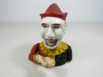 Antique Cast Iron Mechanical Clown Coin Eating Piggy Bank Works