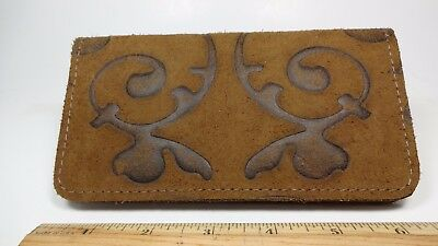 Bay State Exclusive Fleur De Lis Suede Leather Standard Checkbook Cover-USA Made