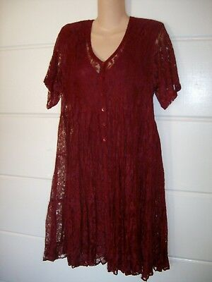 90's Starina Burgundy Color Short Sleeve Front Button Lined Lace Dress Size S/M