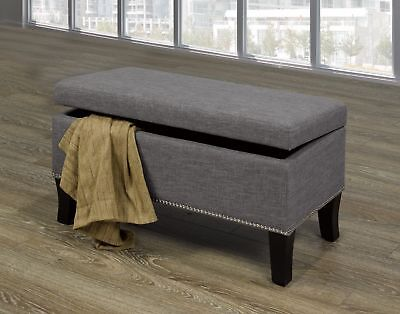 Modern Upholstered Grey Bench With Nail heads and Storage Living Room Furniture