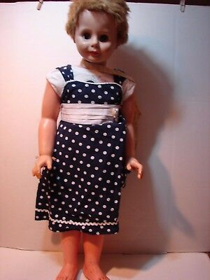 Large Vintage Vinyl Hard Plastic Doll Playpal Type Size 34 Inch Sleep Eyes