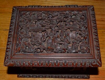 Antique Chinese Deeply and Intricately Carved Canton Wood Box