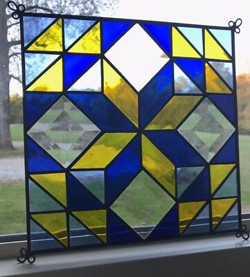 Stained Glass Quilted Square Panel - 9 Inch - Blue, Yellow, Clear