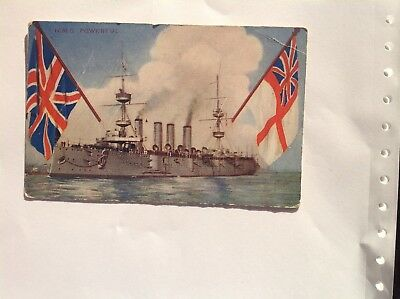 Old Colour Post Card H.m.s. Powerful