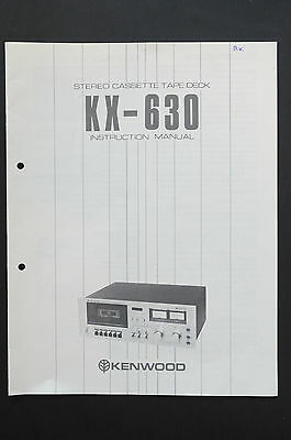 KENWOOD KX-630 TAPE DECK Orig. Bedienungsanleitung/User Manual Top-Zust.!