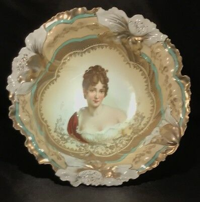 RS Prussia German Porcelain Portrait Cabinet Plate Bowl Green And Gold