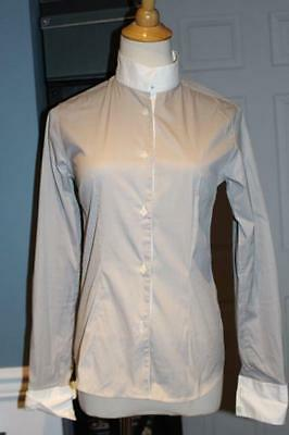 CAVALLERIA TOSCANA Italy Womens GRAY white Stripe Show SHIRT Riding Size Small S
