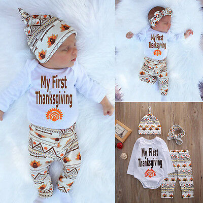 Newborn Infant Baby Boy Girl T-shirt Tops+Pants+Hat Outfit Clothes Set Bodysuits