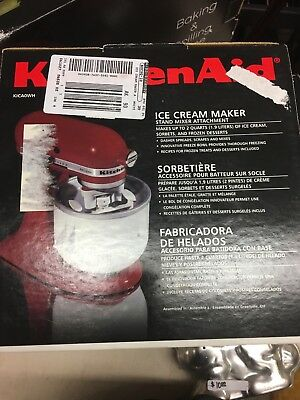 NEW  KitchenAid ice cream maker attachment for stand mixers, model KICA0WH