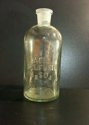 Antique Wheaton Glass Bottle Sulfuric Acid H2SO4 Apothecary Embossed Vintage