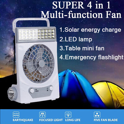 Solar Power/AC Rechageable 4-in-1 Camping Cool Fan Light Tent LED Lantern Cooler