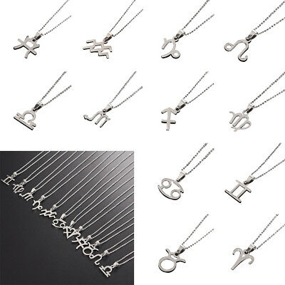 Men Women 12 Constellations Zodiac Sign Silver Stainless Steel Pendant Necklace