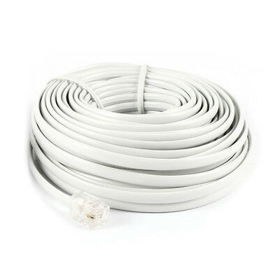 40Ft 12M RJ11 6P2C Telephone Phone Modem Cord Cable White 2pcs WS T8R5