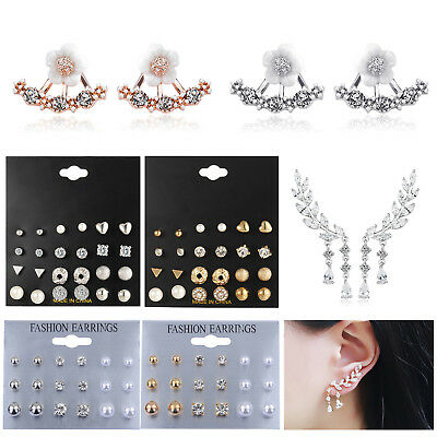 Fashion Women Crystal Earrings Long Tassel Drop Dangle Leaves Ear Stud Jewelry