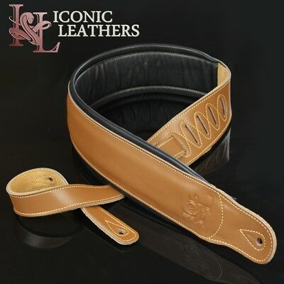 "Iconic 3.25"" Extra Wide Dual Padded Leather Latte Brown Guitar Bass Strap IL-5"