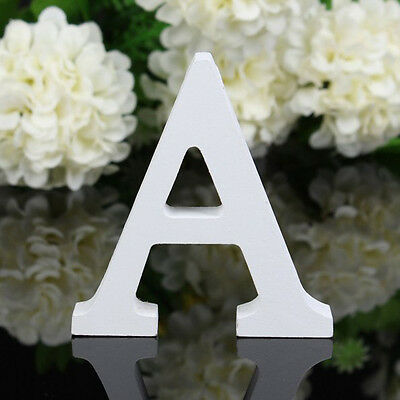 1X Wooden White Letters A Alphabet Wedding Party Home Decoration 3D Wall Hanging