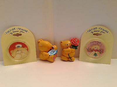 Set of 4 Vintage Genuine Andrew Brownsword Forever Friends Fridge Magnets/Badges