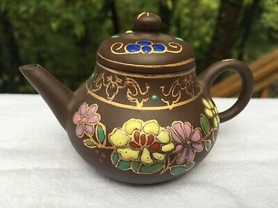 Beautiful Antique Vintage Chinese Yixing Teapot Clay Enameled Painted Stamped #2