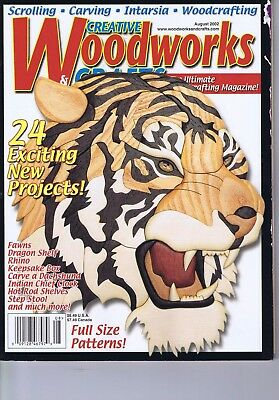Creative Woodworks Crafts Magazine Scrolling Carving Intarsia Patterns Aug 2002