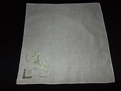 Vintage~Ladies Handkerchief~Hanky~Pulled Thread~Embroidery~Cotton~Butterfly
