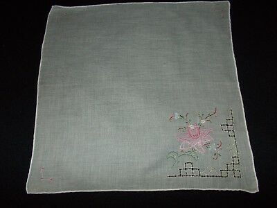 Vintage~Ladies Handkerchief~Hanky~Pulled Thread~Embroidery~Cotton~Pink Flower