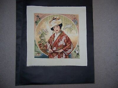 """Japanese Maiden"" - Completed Counted Cross - Stitch Piece -  Unframed"