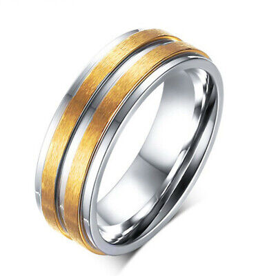 316L Stainless Steel AAA CZ Couple Rings Mens Women's Gold Plated Band Size 5-13