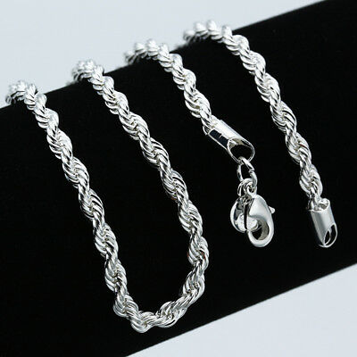 4mm 925 Silver Filled Twisted Rope Chain Necklace Men Women Jewelry DIY 16-30'