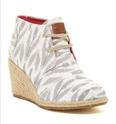 741d2f92860d New TOMS Canvas Ikat Desert Chukka Wedges Lace Up Ankle Boots Gray White  Womens