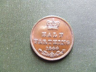 Queen Victoria.   1844, Half Farthing.  Scarce.   Mint Condition With Lustre.